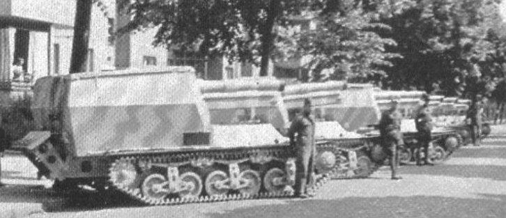 Alkett built Geschutzwagens awaiting shipping to North Africa