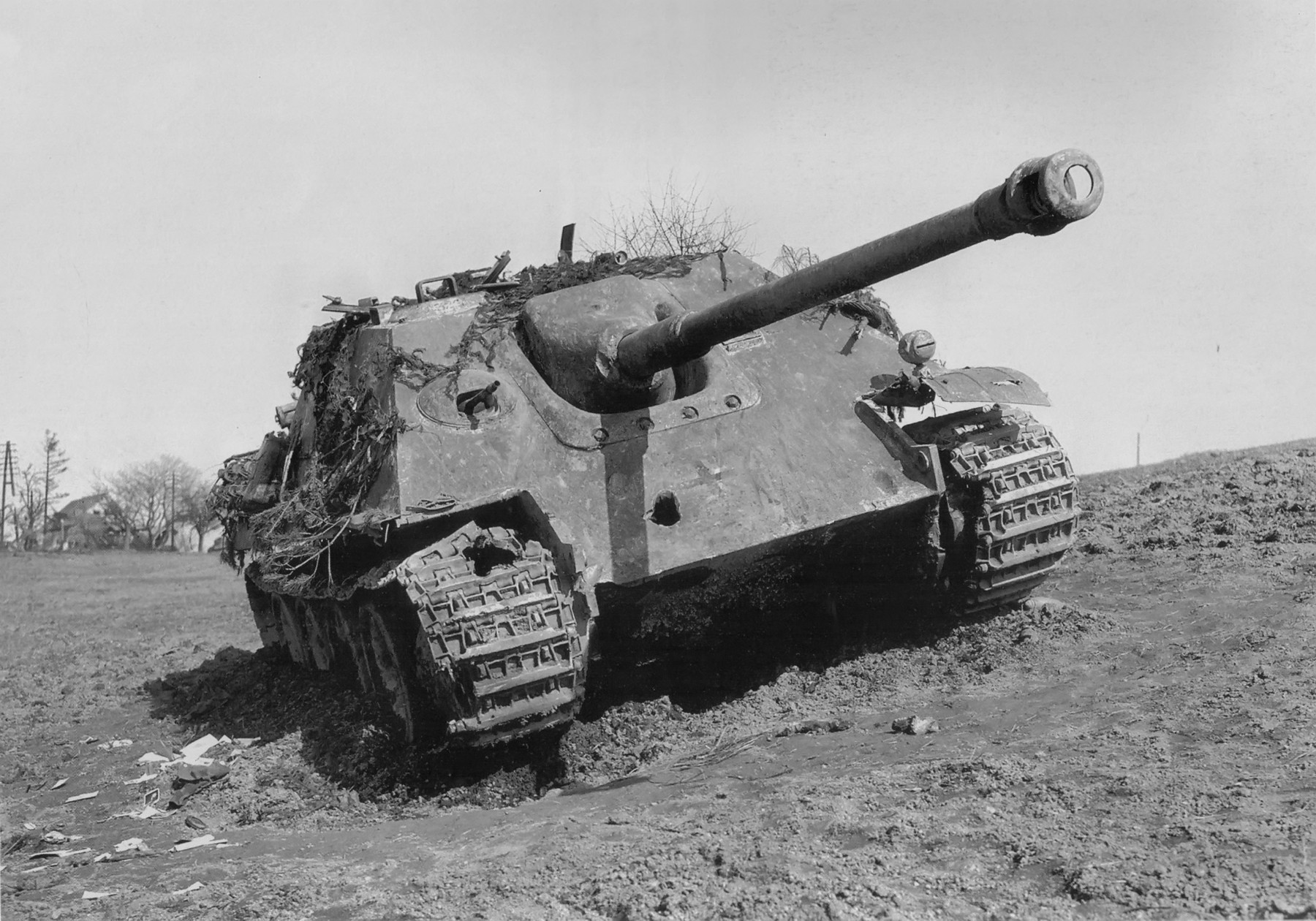 A Jagdpanther destroyed by the Americans near Hargarten