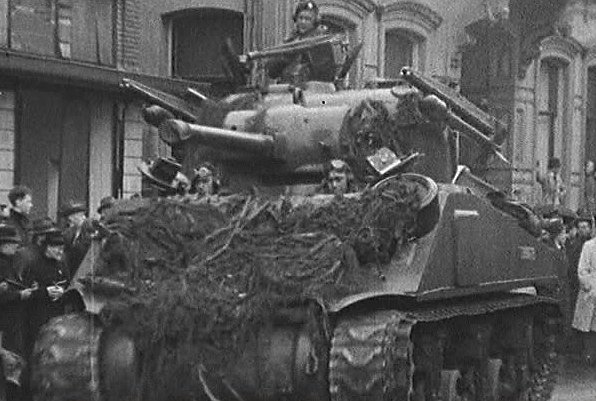 British Sherman Mk.V tanks fitted with 'Tulip' rockets.