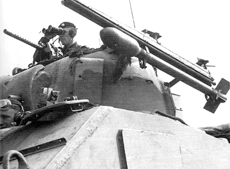 British Sherman Mk.V tank fitted with 60 lb RP-3 (Rocket Projectile 3-inch) air to ground aircraft rocket launcher rails