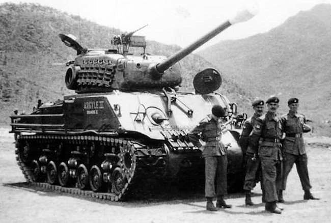 Royal Canadian Armoured Corps (RCAC) tank crew with their M4A3(76)W HVSS Sherman, 'Argyle II' In Korea