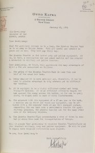 Otto Kafka's letter on the Disston Tractor Tank addressed to the Kuwaiti Minister of War.