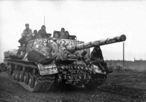 ISU-122 of the 59th Independent Breakthrough Tank Regiment, 9th Mechanized Corps, 3rd Guards Tank Army, in a strange winter livery, Ukrainian SSR, 1944