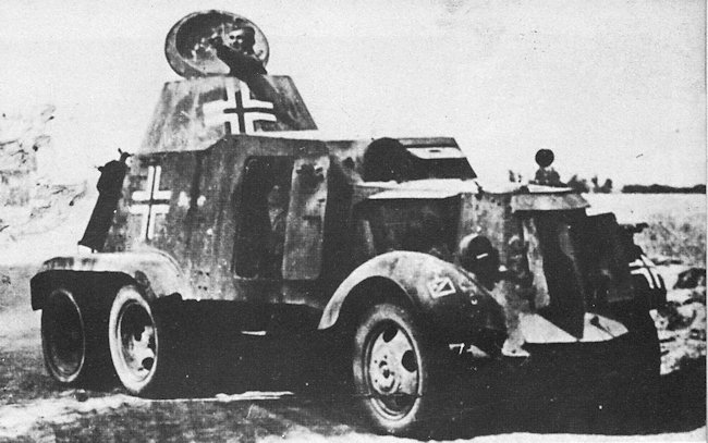German Army, Spanish Built AAC-1937 armoured car named Jaguar captured by Soviet forces.