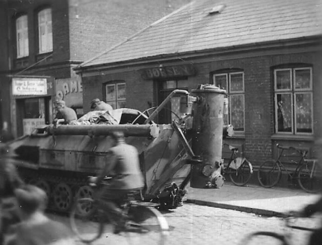 You can see the Holzgas wood burner on the back of this half-track