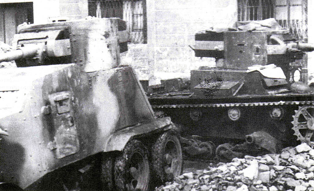 Nationalist T-26 and AAC-1937 with a T-26 turret (and original Republican hull colors).