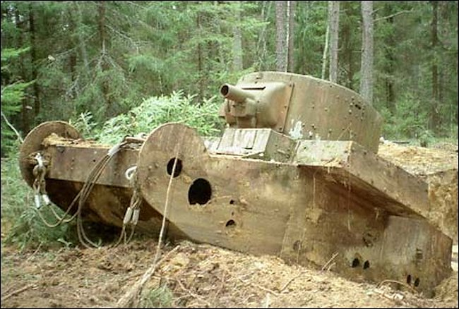 T-46-1 tank at Karelian Isthmus being pulled from the ground