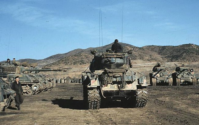 A Squadron,Lord Strathcona's Horse (Royal Canadians) in maintenance tank park during the Korean War.
