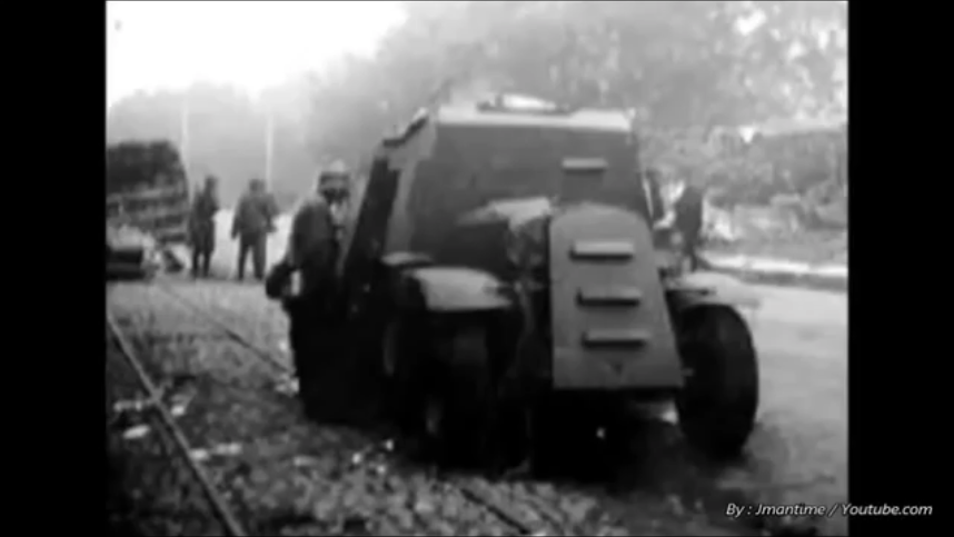 An Armored ADG with no turret. It is unclear whether the truck was issued without one or whether it was blown off. Note the driver's vision slit in the cab and the air intakes on the nose