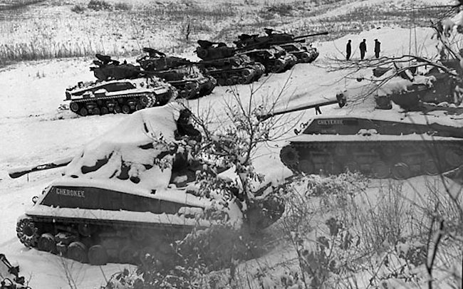 C Squadron Lord Strathcona's Horse (Royal Canadians) in the snow during the Korean War