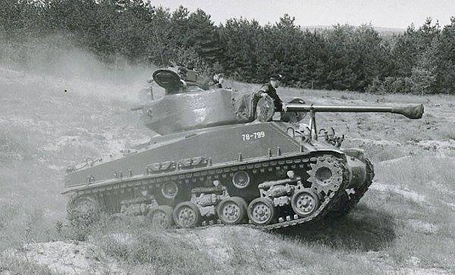 Cross country training in a Canadian RCAC M4A2(76)W HVSS Sherman tank.