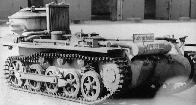 A Fahrschulepanzerwagen I Ausf.A with an experimental Festbettvergaser Holzgas generator