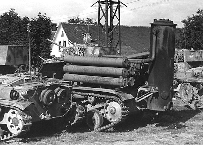 Fahrschulepanzerwagen with Imbert Holzvergasser wood gas burner with tanks from Pz.Abt 202, at Sentvid, Medvode near Ljubljana, Yugoslavia