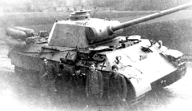 Stadtgas Fahrschulepanzerwagen V Panther Ausf.D with its crew in front of it