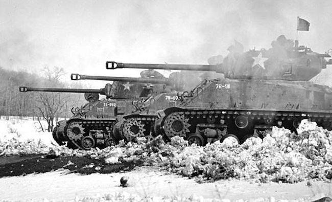 Sherman M4A2(76)W HVSStank crews taking part in firing practice at Meaford Range 1966