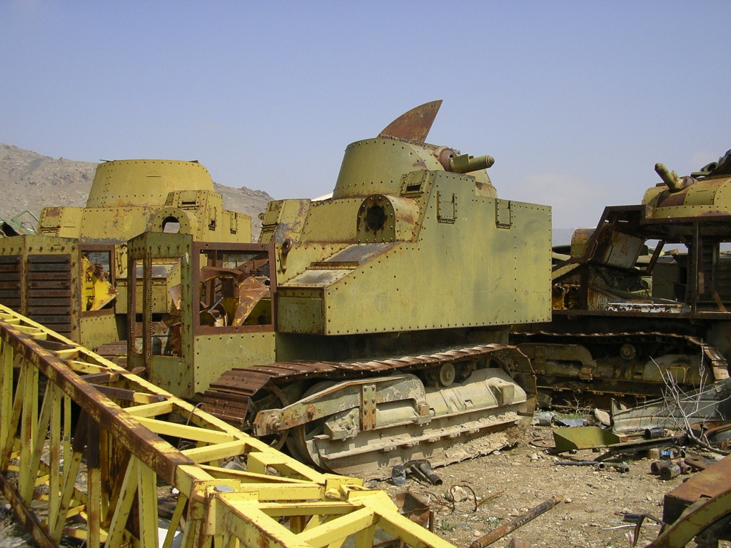 Several Disston Tractor Tanks in Kabul. The photograph was reportedly taken by a French soldier, in March 2006 at KMTC, Pol-e-Charkhi.