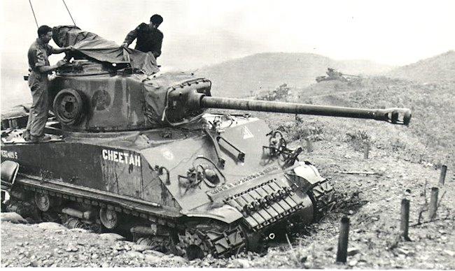 Canadian M4A3(76)W HVSS Sherman Tank used in the Korea War