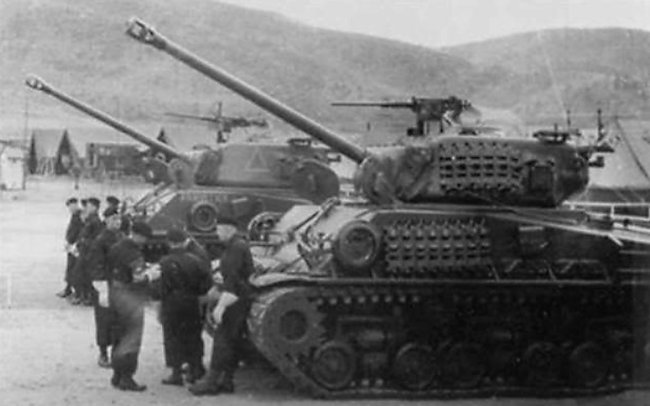 'A' Squadron Canadian Sherman M4A3(76)W HVSS tanks of the Fort Garry Horse in Korea