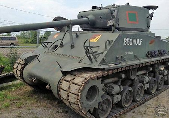 Ontario RCAC Regiment Museum M4A2(76)W with HVSS Sherman Tank Beowulf