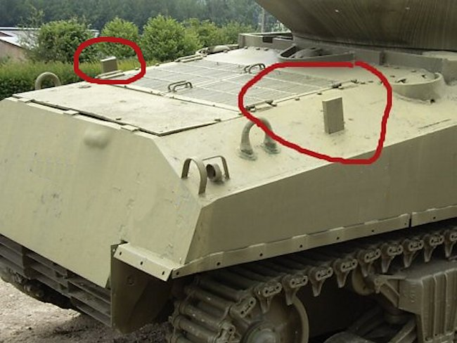 Spotting the rear deck cover stops are the easiest way to identify a M4A3(76)W HVSS Sherman Tank