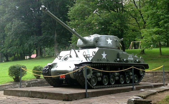 Surviving M4A3(76)W HVSS Sherman tank Serial Number 61180 was placed in a public park in Monessen, Pennsylvania, USA