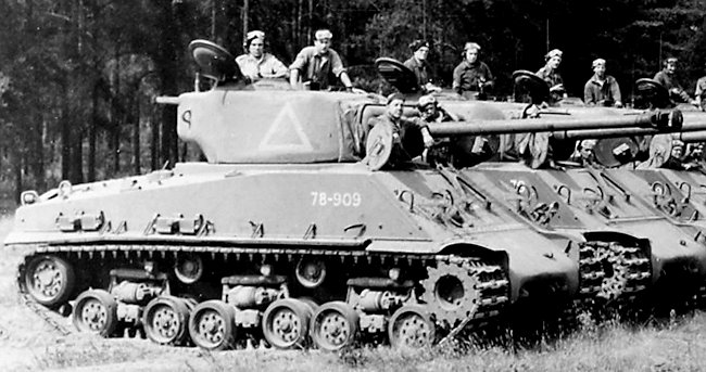 Royal Canadian Armoured Corps (RCAC) M4A2(76)W HVSS Sherman Tanks