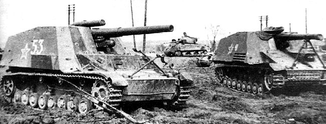 Some Hummel SPGs were captured and used by the Soviet Red Army
