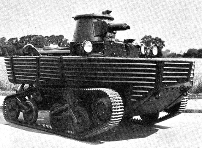 This Vickers Amphibious Light Tank had a maximum road speed of 35 mph
