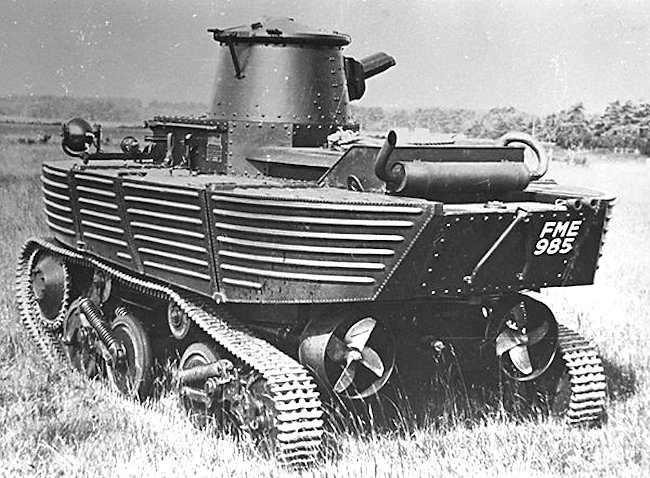 The Vickers amphibious tank's exhaust system had to be mounted on the top of the engine deck to keep it dry
