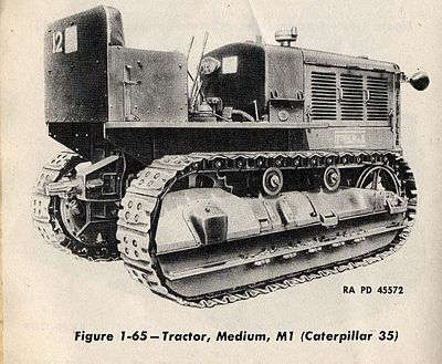 Drawing of a Caterpillar Model 35 tractor. These were modified by adding a new, but smaller, wheel in front of the front wheel.