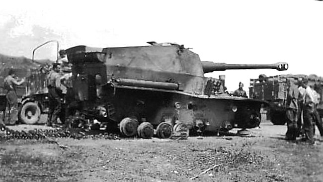 This destroyed Dicker Max SPG is not in a wood and its front right track guard is still flat