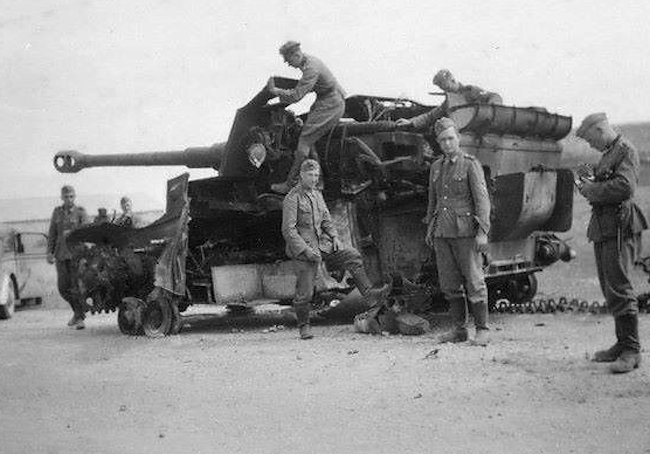 A massive internal explosion has blown away the whole side of this Dicker Max SPG