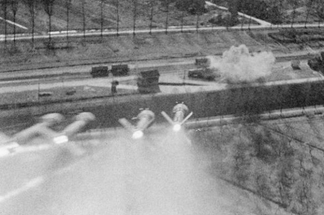 A salvo of RP-3 rockets, as seen from the gun camera of a Hawker Typhon, heads towards some German petrol wagons
