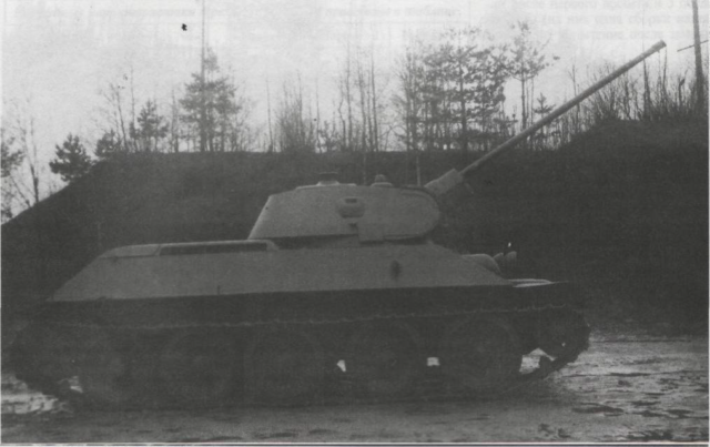 A right-side view of the T-34/57 prototype at the Artillery Research Testing Grounds in the spring of 1941. The gun is at maximum elevation - Credits: Central Archive of the Russian Ministry of Defense
