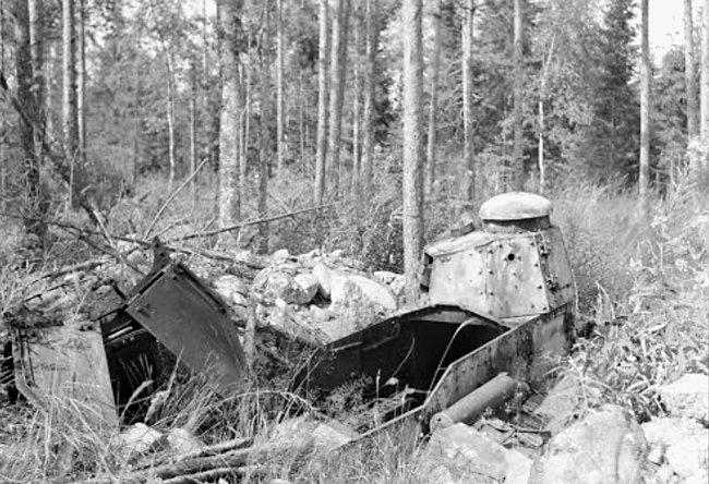 Dug-in bunker Winter War Renault FT tank