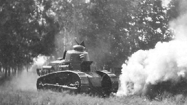 Two Renault FT tanks of the Finnish Army taking part in war games in the 1920-30's
