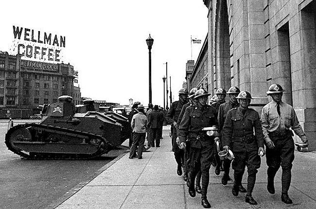 M1917 tanks on strike duty