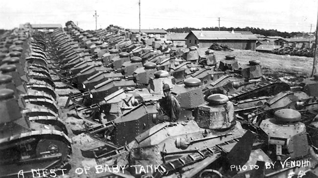 M1917 US light tanks. photo taken around 1920