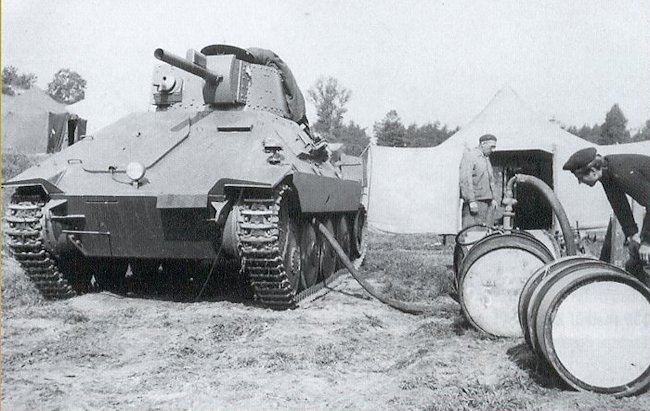 Refuelling the PM-1 flame thrower tank