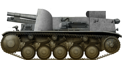 The prototype 15cm s.I.G. 33 A only had five wheels and the normal length Panzer II tank chassis