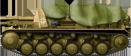 15 cm sIG 33 auf Fahrgestell Panzerkampfwagen II (Sf) with tarpaulin frame erected and sun shade tarpaulin tied on