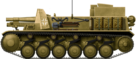 15 cm sIG 33 auf Fahrgestell Panzerkampfwagen II (Sf) ready for active service in North African 1941.