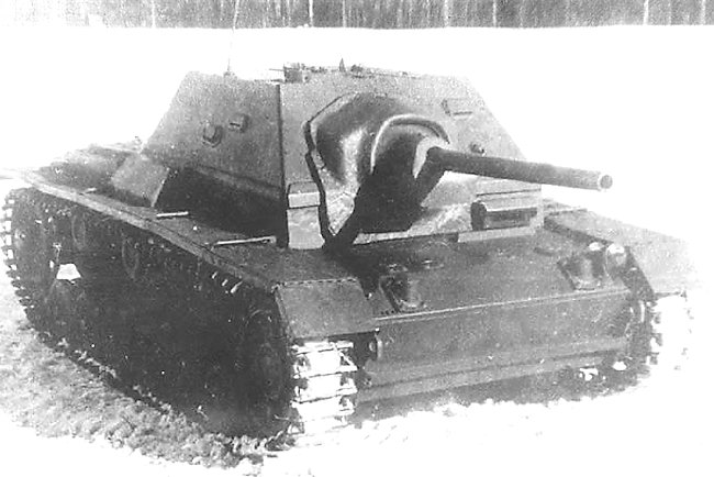 SU-76i self-propelled gun was armed with a 76.2 mm (3 in) S-1 anti-tank gun