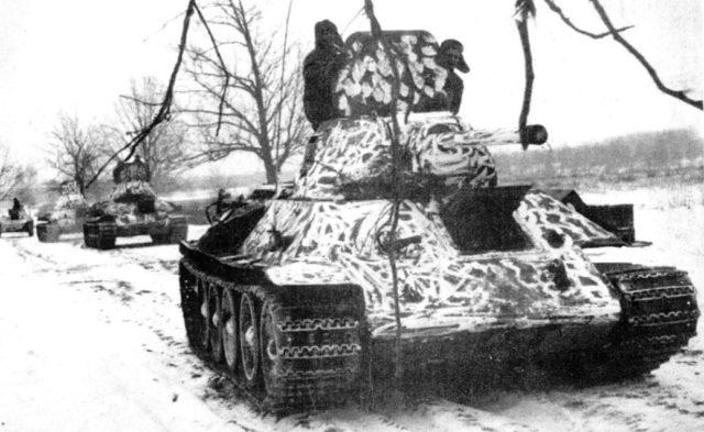 A column of T-34/76 tanks produced at Kharkov