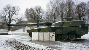Side view of the Strv 2000 mock-up