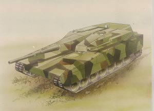 A rendition of one of the Strv 2000 designs, probably the T120/40