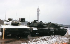 The three competitors for the Swedish MBT role, the Strv 2000 T140/40, the M1A1 Abrams and Leopard 2A4
