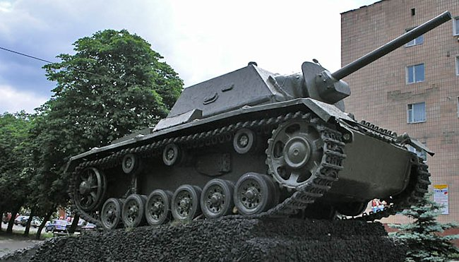 Surviving SU-76i self-propelled gun used as a war memorial in Sarny, Rivne Oblast, Ukraine.