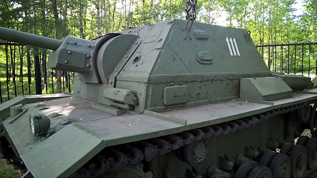 The SU-76i driver could only see straight ahead and to his left. Notice the vision slit above the covered pistol hole on the left side of the armored casement.
