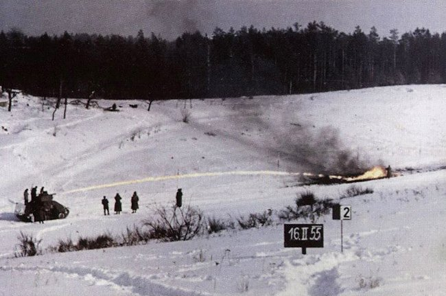The PM-1 flame thrower tank undergowing trials in the snow 16th February 1955.